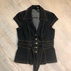 Bisou Bisou Jean button down vest